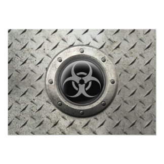 Gray and Black Industrial Biohazard Steel Effect 5x7 Paper Invitation Card