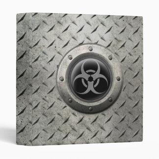 Gray and Black Industrial Biohazard Steel Effect 3 Ring Binder