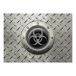 Gray and Black Industrial Biohazard Steel Effect Card