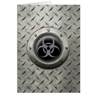 Gray and Black Industrial Biohazard Steel Effect Cards