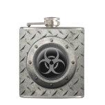 Gray and Black Industrial Biohazard Steel Effect Flask