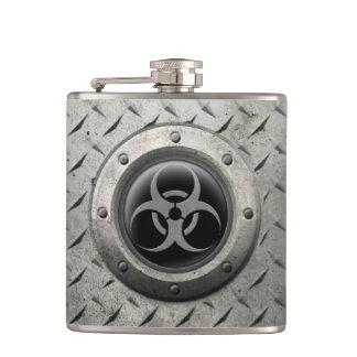 Gray and Black Industrial Biohazard Steel Effect Hip Flask