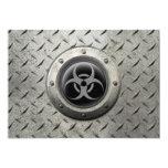 "Gray and Black Industrial Biohazard Steel Effect 5"" X 7"" Invitation Card"