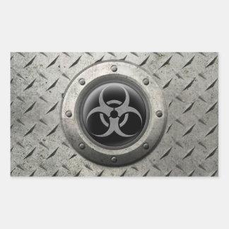 Gray and Black Industrial Biohazard Steel Effect Rectangular Sticker