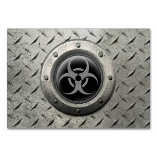 Gray and Black Industrial Biohazard Steel Effect Table Card
