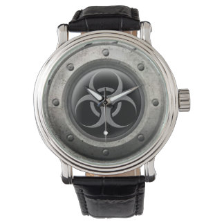 Gray and Black Industrial Biohazard Steel Effect Watch