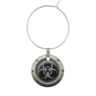Gray and Black Industrial Biohazard Steel Effect Wine Glass Charm