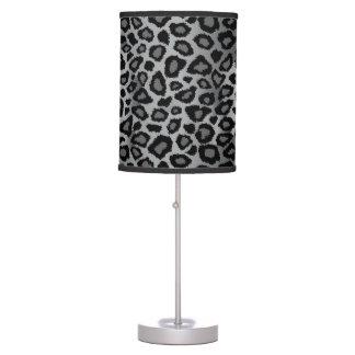 Gray and Black Leopard Animal Print Desk Lamp