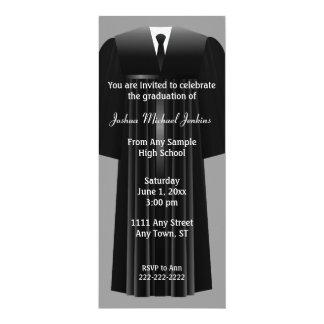 "Gray and Black Mens Graduation Invitation 4"" X 9.25"" Invitation Card"