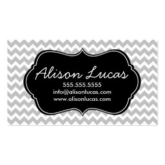 Gray and Black Modern Chevron Stripes Business Card