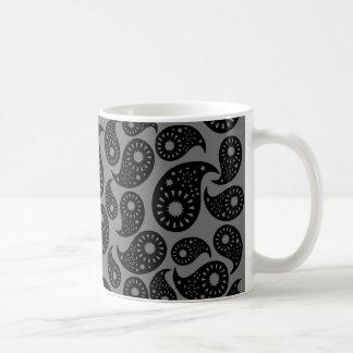 Gray and Black Paisley. Coffee Mug