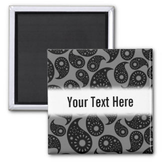 Gray and Black Paisley Magnet