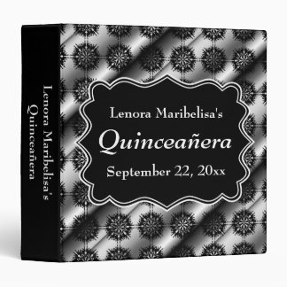 Gray and Black Pattern Print Quinceanera Binder