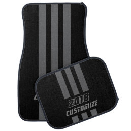 Gray And Black Race Double Stripes Car Mat