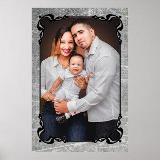 Gray and Black Script Border Family Photo Poster