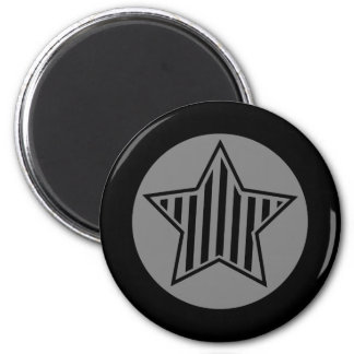 Gray and Black Star Round Magnet