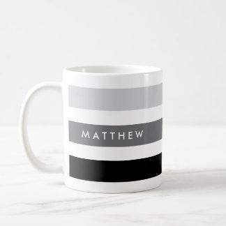 Gray and black stripes personalized coffee mug