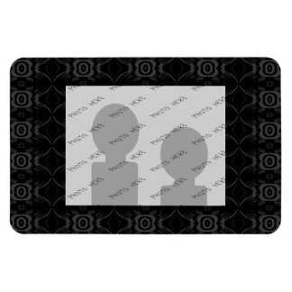 Gray and Black Stylish Flower Pattern. Magnet