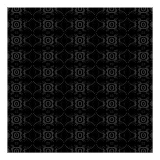 Gray and Black Stylish Flower Pattern. Poster