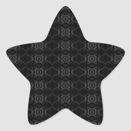 Gray and Black Stylish Flower Pattern. Star Sticker