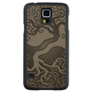 Gray and Black Tree of Life Yin Yang Carved Maple Galaxy S5 Slim Case