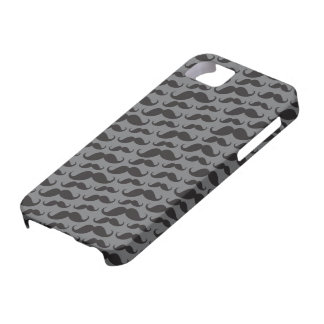 Gray and black trendy funny mustache pattern iPhone SE/5/5s case