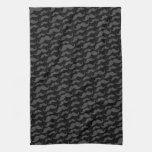 Gray and black trendy funny mustache pattern kitchen towel