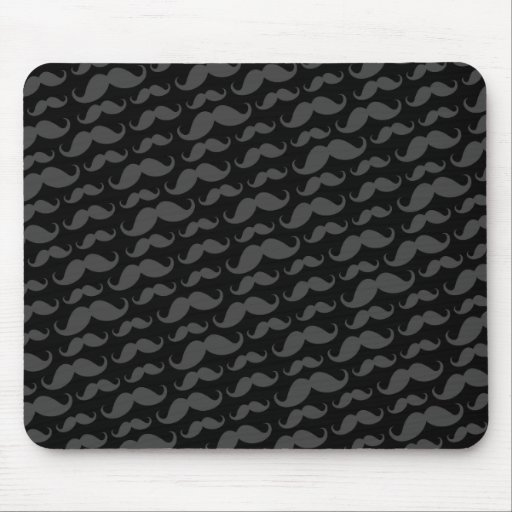 Gray and black trendy funny mustache pattern mouse pad
