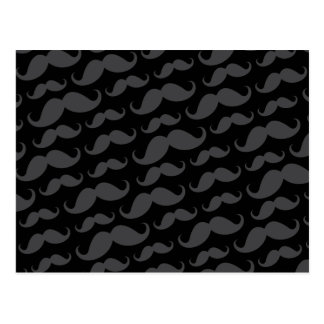 Gray and black trendy funny mustache pattern post cards