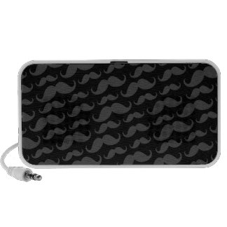 Gray and black trendy funny mustache pattern mp3 speakers