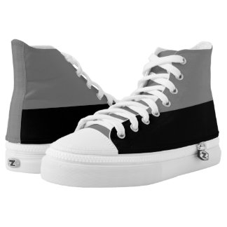 Gray and Black Two-Tone Zipz Hi-Top Printed Shoes