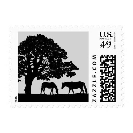 Gray and Black Vintage Horse Farm Wedding Postage