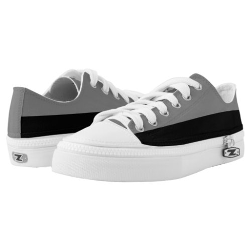 Gray and Black Zipz Lo-Top Shoes