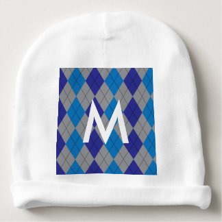 Gray and Blue Argyle Baby Beanie