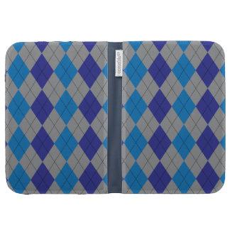 Gray and Blue Argyle Caseable Case Kindle Case