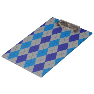 Gray and Blue Argyle Clipboards