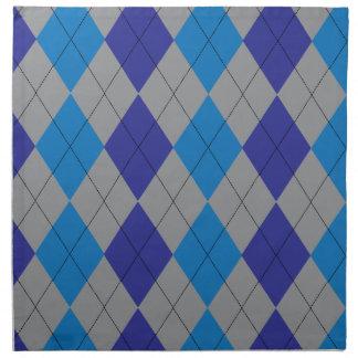 Gray and Blue Argyle Cloth Napkin