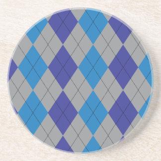 Gray and Blue Argyle Coaster