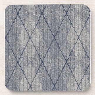 Gray and Blue Argyle Drink Coasters