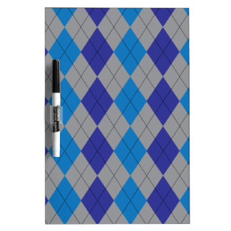 Gray and Blue Argyle Dry Erase Board