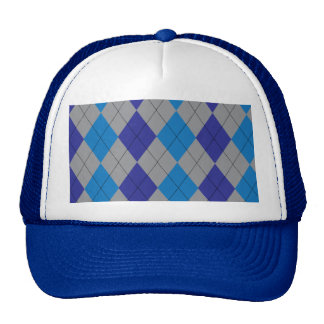 Gray and Blue Argyle Hat