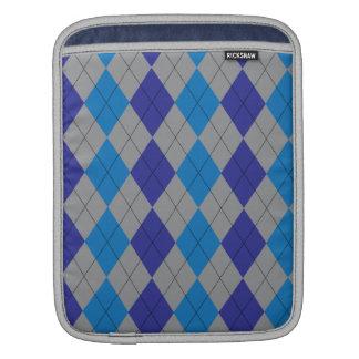 Gray and Blue Argyle iPad Sleeve