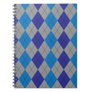 Gray and Blue Argyle Notebook