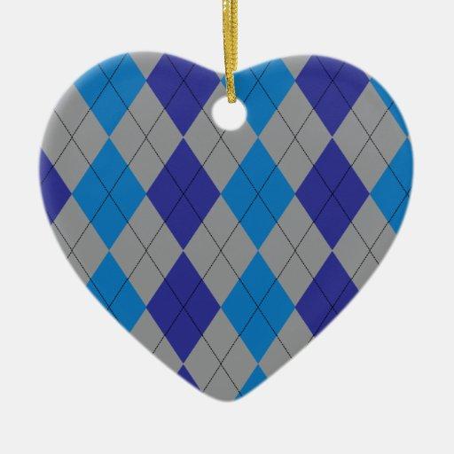 Gray and Blue Argyle Ornament