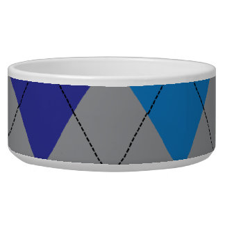 Gray and Blue Argyle Pet Bowl