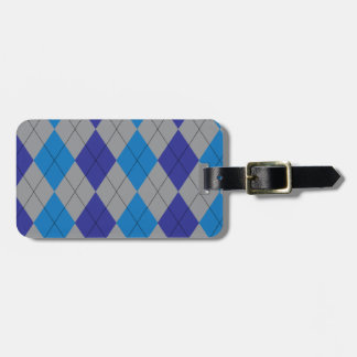 Gray and Blue Argyle Tag For Luggage