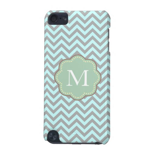 Gray and Blue Chevron iPod Touch 5G Covers