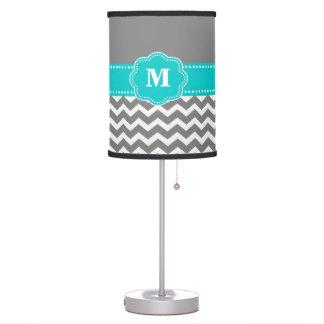 Gray and Blue Chevron Monogram Lamp Shade