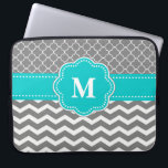 """Gray and Blue Chevron Monogram Laptop Sleeve<br><div class=""""desc"""">Show off your personal style in a fun way with this gray and blue chevron monogram laptop case.</div>"""