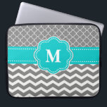 "Gray and Blue Chevron Monogram Laptop Sleeve<br><div class=""desc"">Show off your personal style in a fun way with this gray and blue chevron monogram laptop case.</div>"